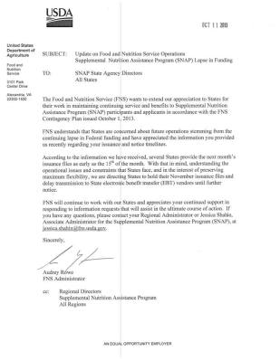 usda letter re-snap